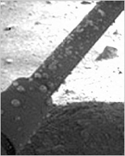 Close-up view of what were thought to be briny water droplets on one of the landing legs of Mars Phoenix Lander, shortly after landing. Photo Credit: NASA/JPL-Caltech