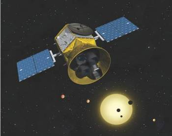 Artist's conception of the Transiting Exoplanet Survey Satellite (TESS) space telescope, due to be launched in 2017. Image Credit: Chet Beals/MIT Lincoln Lab