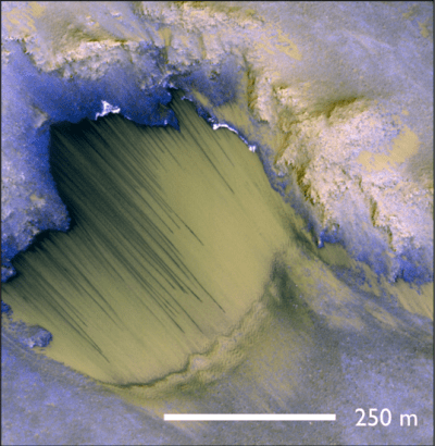 A good example of Recurring Slope Lineae in Melas Chasma, thought to be caused by runoff of briny water. Are they related to the buried glaciers? Image Credit: NASA/JPL-Caltech/University of Arizona