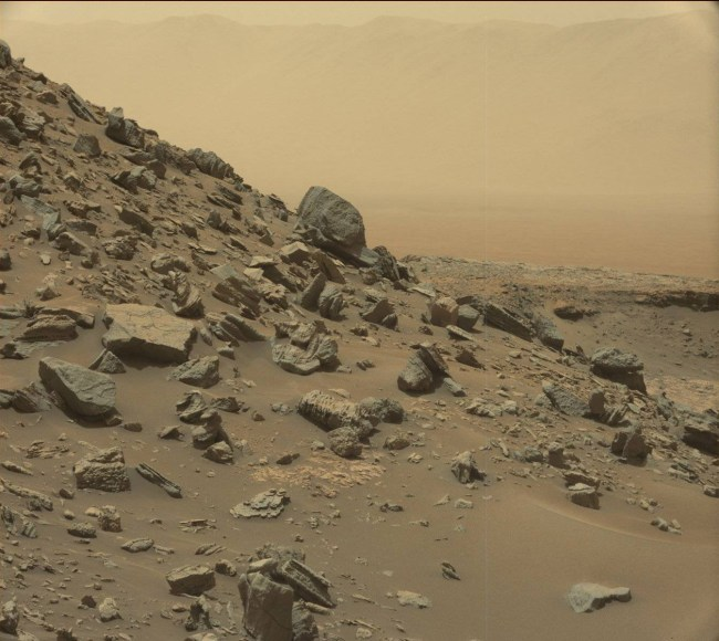 Rock-covered slope on one of the buttes. Photo Credit: NASA/JPL-Caltech/MSSS