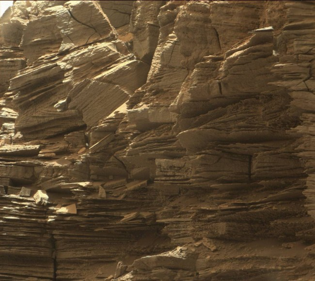 Very fine, thin layering on a steep side of one of the buttes. A geologist's dream. Photo Credit: NASA/JPL-Caltech/MSSS