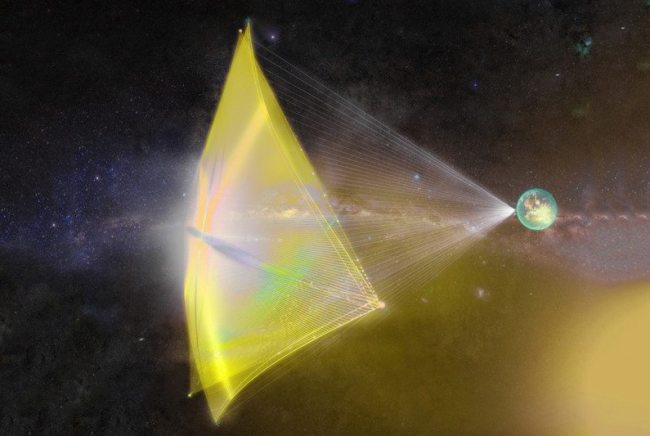 """Artist's conception of a Breakthrough Starshot spacecraft, a tiny circuit board-like """"wafer"""" attached to a lightsail. Image Credit: Breakthrough Initiatives"""