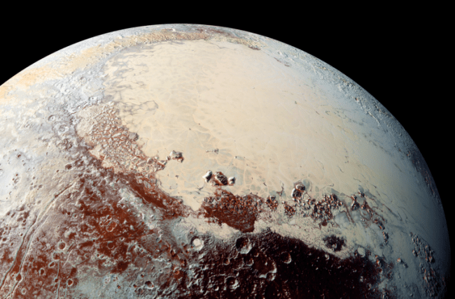 Pluto is an enigmatic little world, with glacier-like plains of smooth nitrogen ice, methane snow on mountain peaks and possible cryovolcanoes (ice volcanoes), as well as a possible subsurface ocean. Photo Credit: NASA/Johns Hopkins University Applied Physics Laboratory/Southwest Research Institute
