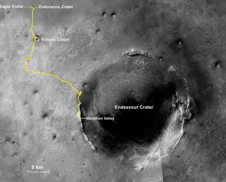 Route map showing the traverse of Opportunity since it landed in 2004, starting at Eagle Crater. Image Credit: NASA/JPL-Caltech/MSSS/NMMNHS