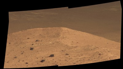 Closeup view of Spirit Mound, overlooking the floor of Endeavour Crater. Image Credit: NASA/JPL-Caltech/Cornell/Arizona State Univ.