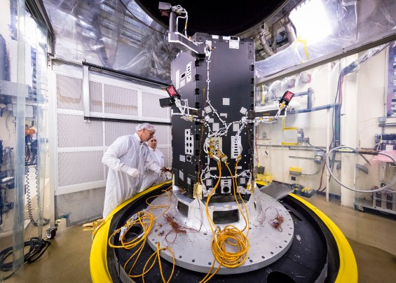 The Solar Probe Plus under construction at the Johns Hopkins University Applied Physics Laboratory in Laurel, Md. Photo Credit: NASA/JHUAPL