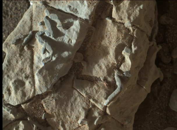 "MAHLI view of the unusual ""sticks"" seen by the Curiosity rover on sol 1922. Their origin is currently being debated. Photo Credit: NASA/JPL-Caltech/MSSS"