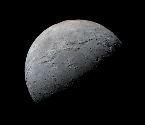 Pluto's largest moon Charon as seen by New Horizons. Photo Credit: NASA/JHUAPL/SwRI/Daniel Macháček