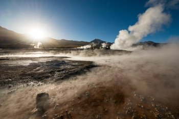 Hydrothermal geysers at El Tatio in the Atacama Desert, Chile. Photo Credit: Ben Pipe Photography/Corbis