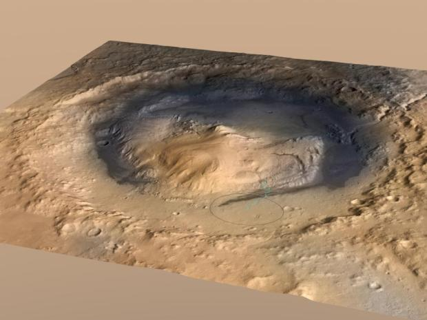 Overhead view of Gale crater with Mount Sharp in the center. At one time, Gale crater was a large lake or series of lakes. The ellipse is the landing area of the rover. Image Credit: NASA/JPL-Caltech/ESA/DLR/FU Berlin/MSSS