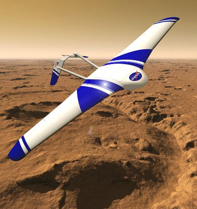 Another Mars airplane concept, the Aerial Regional-scale Environmental Survey (ARES). Such aircraft as these would provide unprecedented views of the Martian surface, unique from orbiters, landers or rovers. Image Credit: NASA