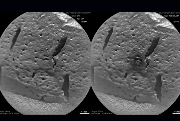 Before and after image of a rock lasered by Curiosity. The surface of the rock has darkened around the spot hit by the laser. Credit: Los Alamos National Laboratory
