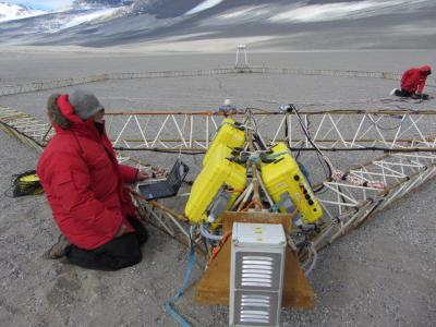 Closer view of the SkyTEM sensor on the ground at Wright Valley in the McMurdo Dry Valleys in Antarctica. Photo Credit: J. Mikucki