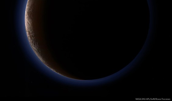 The hazy blue atmosphere of Pluto. @NASA/JPL/Roman Tkachenko