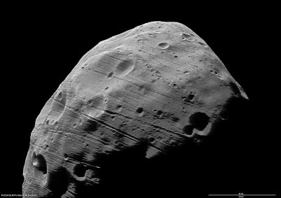 Another view of Phobos and its grooves. Image Credit: ESA/DLR/FU Berlin (G. Neukum)
