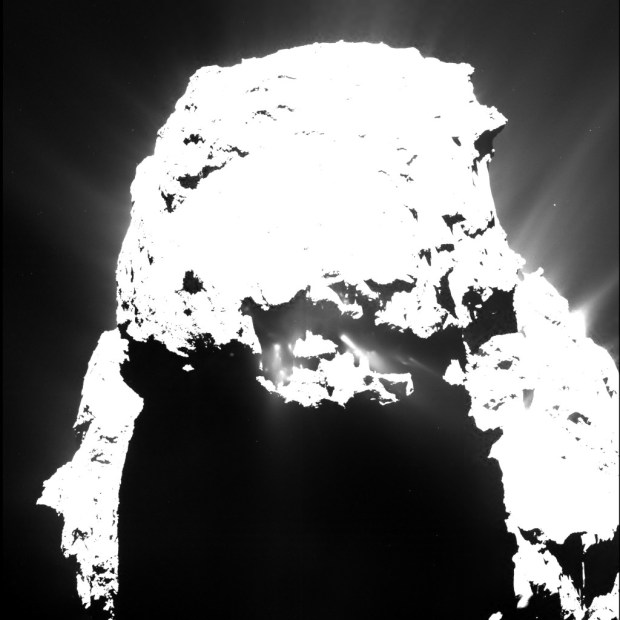 Wider view of gas and dust jets on comet 67P/Churyumov–Gerasimenko. Image Credit: ESA/Rosetta/MPS for OSIRIS Team MPS/UPD/LAM/IAA/SSO/INTA/UPM/DASP/IDA