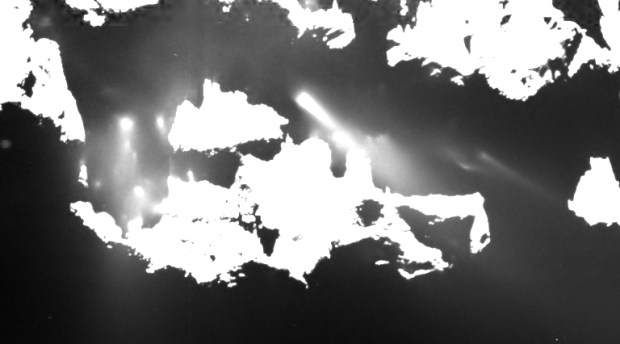 Cropped zoom of gas and dust jets on comet 67P/Churyumov–Gerasimenko. Image Credit: ESA/Rosetta/MPS for OSIRIS Team MPS/UPD/LAM/IAA/SSO/INTA/UPM/DASP/IDA