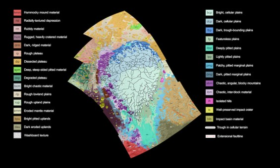 New geological map covering Sputnik Planum and surrounding terrain. Image Credit: NASA/JHUAPL/SwRI