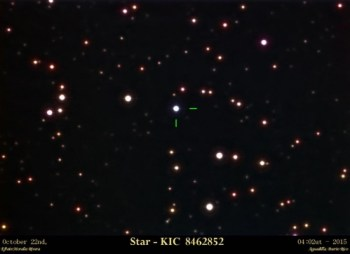 The star in question, KIC 8462852. Photo Credit: Efraín Morales, of the Astronomical Society of the Caribbean (SAC)