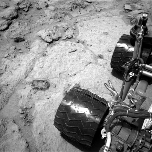 "Navcam image from sol 308 with another ""bubble"" feature close to one of the rover wheels. Credit: NASA / JPL-Caltech"