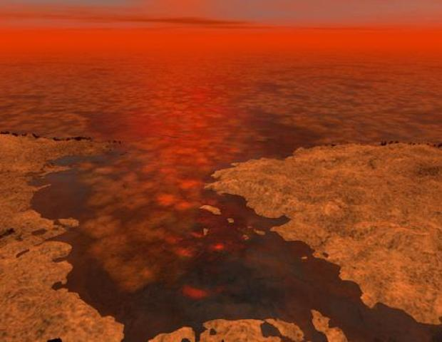 Artist's conception of possible ice floes on a Titanian sea.Credit: NASA / JPL-Caltech / USGS