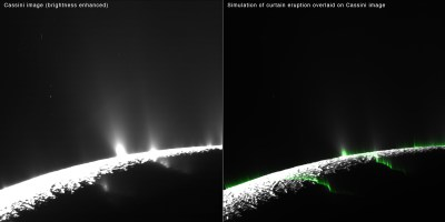 "Modeling of water vapor eruptions on Enceladus showing most of them to be more like ""curtains"" of vapor than individual, brighter jets. Image Credit: NASA/JPL-Caltech/SSI/PSI"