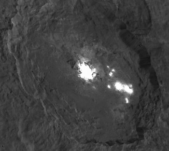 Oblique view of the brightest spots, in Occator crater. The spots are now thought to be salt deposits. Photo Credit: NASA/JPL-Caltech/UCLA/MPS/DLR/IDA