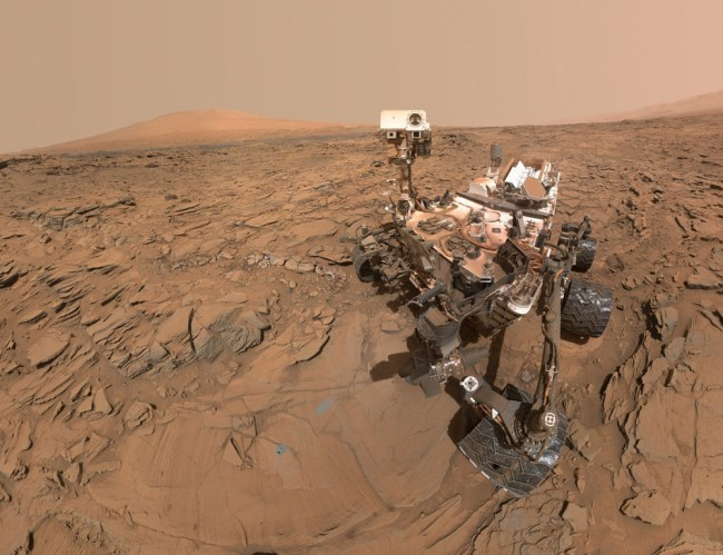 Self-portrait of the Curiosity rover at the drill site called Okoruso, on Naukluft Plateau. The image was taken on May 11, 2016, (sol 1,338). Image Credit: NASA/JPL-Caltech/MSSS