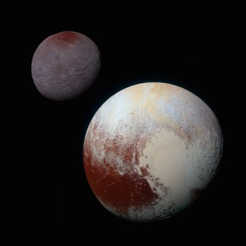 Charon (left) and Pluto (right) as seen by New Horizons. Image Credit: NASA/JHUAPL/SwRI