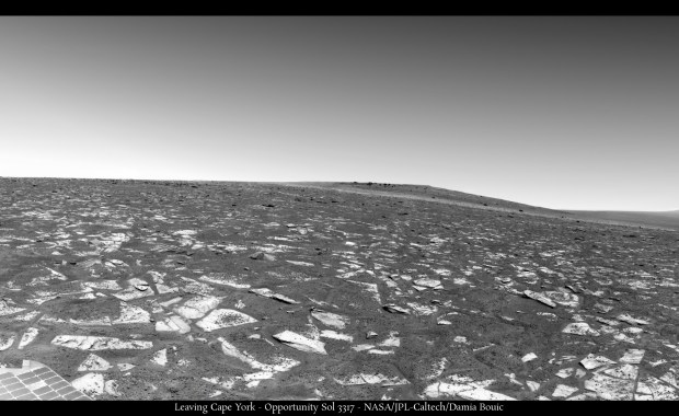 Opportunity looks back at Cape York in this panoramic image. Click for larger version. Credit: NASA / JPL-Caltech / Damia Bouic