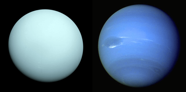 Uranus (left) and Neptune (right). These two ice giants and their many moons are awaiting further exploration. Image Credit: NASA