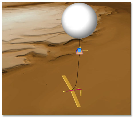 Another way to explore Mars by air would be with balloons. This concept balloon is from Global Aerospace Corporation in 2004, from a presentation entitled Mars Exploration with Directed Aerial Robot Explorers. Image Credit: Global Aerospace Corporation