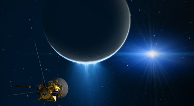 Artist's conception of Cassini making a close flyby of Enceladus and its water vapor plumes. Image Credit: NASA/JPL