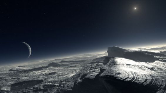 An early artist's conception of what the mountains of Pluto might look like, which turns out to be rather accurate. Image Credit: ESO/L. Calcada