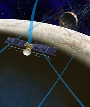 The Europa Clipper concept mission. The probe would make repeated flybys of Europa, studying its surface and interior. Image Credit: NASA/JPL-Caltech