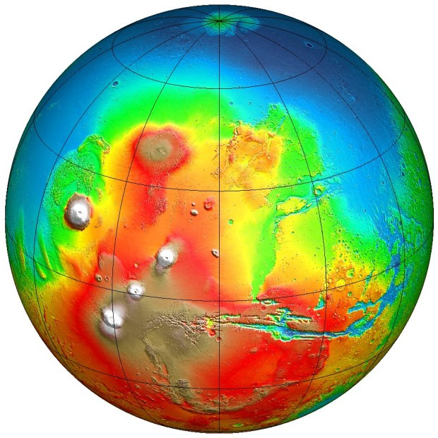 Topographic map from Mars Global Surveyor showing part of the lowlands region in the northern hemisphere (blue) which is thought to have once been an ocean. Credit: NASA / MOLA