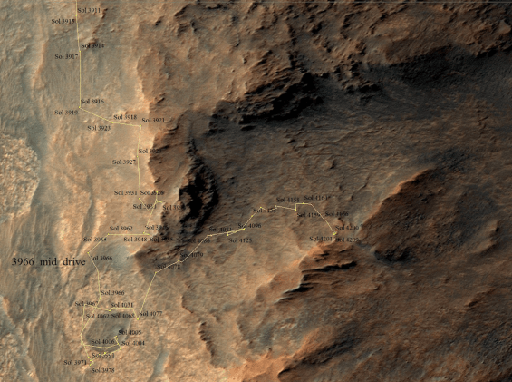 Portion of route map showing Opportunity's traverse up until sol 4,209, on the inside edge of Marathon Valley. Knudsen Ridge is on the southern edge of the valley. Image Credit: NASA/JPL-Caltech