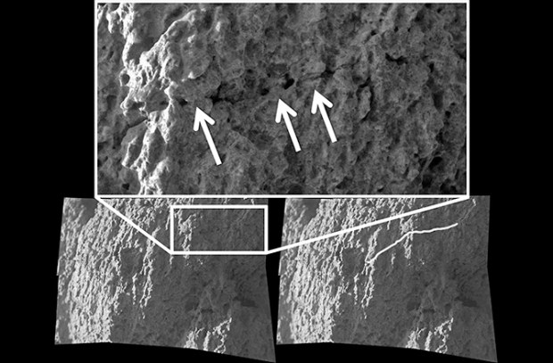 """Microscopic Imager mosaic showing a a pre-existing crack being """"healed over,"""" which is evidence for the gel weathering alteration process. The image is from a Watchtower Class outcrop named Hillary on the Husband Hill summit. Image Credit: NASA/JPL/S. Cole"""