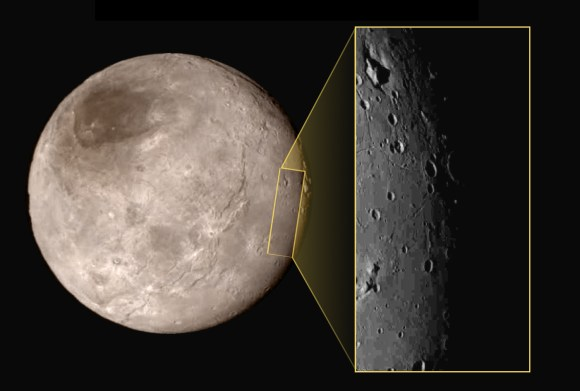"Another unusual feature on Charon is the ""mountain in a moat,"" a large mountainous block sitting inside a depression in the surface. Image Credit: NASA/JHUAPL/SwRI"
