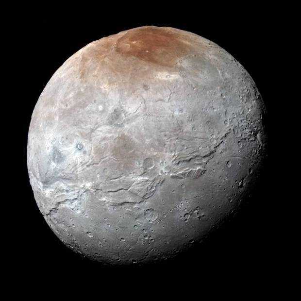 High-resolution view of Pluto's largest moon, Charon, taken just before closest approach. The moon is surprisingly geologically active, or at least has been in the past. Image Credit: NASA/JHUAPL/SwRI