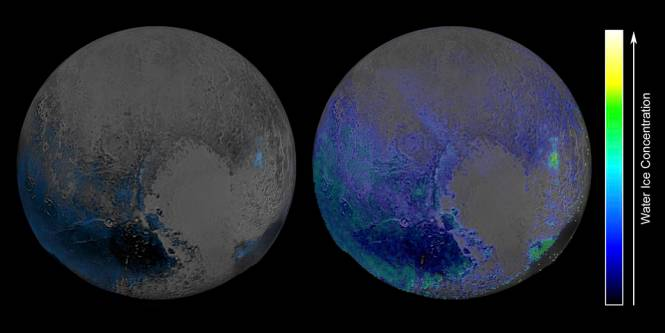 False-colour, infrared maps of Pluto from New Horizons, showing regular detection method of water ice on the left and the more sensitive technique on the right. Image Credit: NASA/JHUIAPL/SwRI