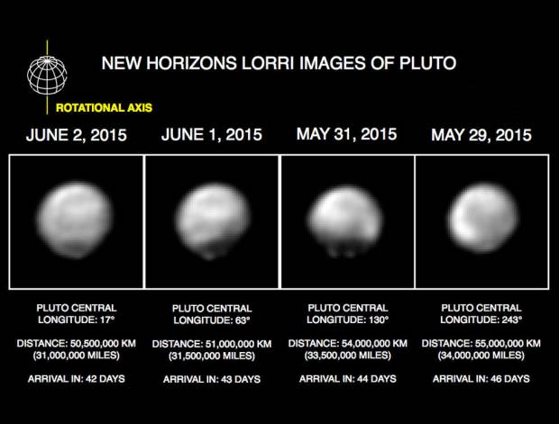 New Horizons images of Pluto from May 29 - June 2, 2015. Image Credit: NASA/JPL-Caltech