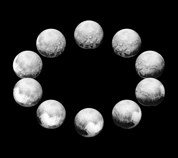 A full-rotation sequence showing one Pluto day, which is 6.4 Earth days long. Image Credit: NASA/JHUAPL/SwRI