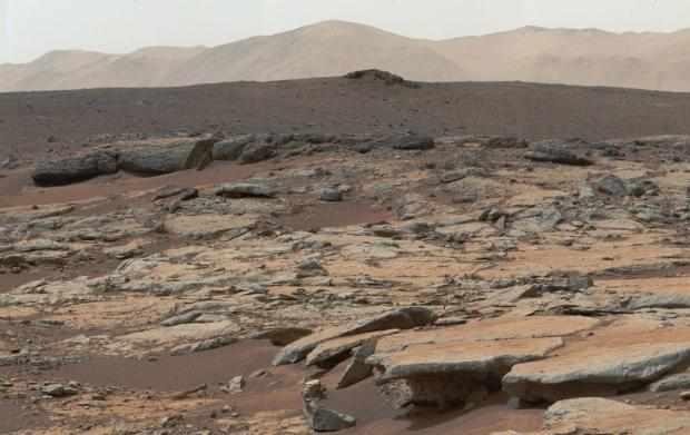 View from Yellowknife Bay in Gale crater, looking west-northwest. This area of sedimentary deposits is now known to be the former bottom of a freshwater lake. Credit: NASA/JPL-Caltech