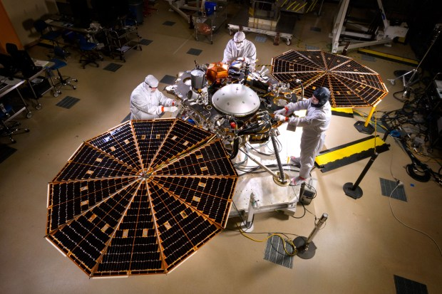 Testing of the solar arrays on the InSight lander at Lockheed Martin Space Systems in Denver. Photo Credit: NASA/JPL-Caltech/Lockheed Martin