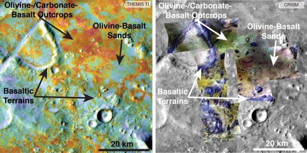 Maps of carbonate deposits using physical properties from THEMIS (left) and mineral information from CRISM (right). Image Credit: NASA/JPL-Caltech/ASU/JHUAPL