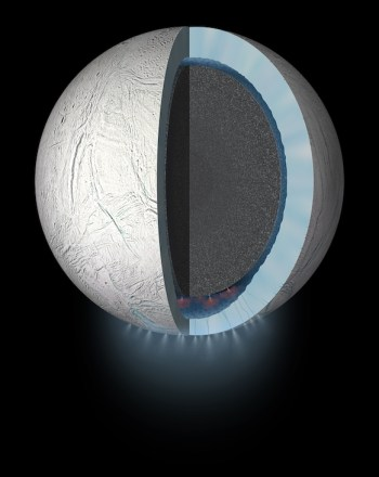 Artist's conception of the interior of Enceladus, with global subsurface ocean, plumes and hydrothermal activity. Image Credit: NASA/JPL-Caltech
