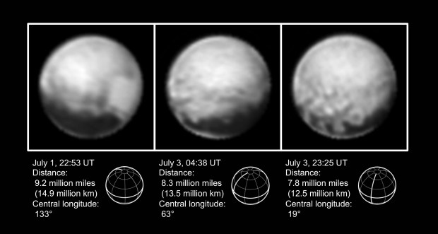 "Three images of Pluto taken by New Horizons from July 1-3, 2015. The four large dark spots and ""donut"" feature can be seen in the third image. Image Credit: NASA/Johns Hopkins University Applied Physics Laboratory/Southwest Research Institute"