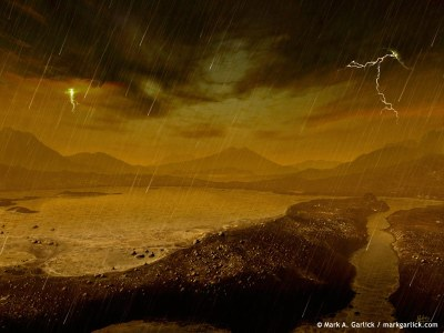 Illustration of methane rainfall and lake on Titan. The lakes and seas may facilitate pre-biotic chemistry; could they also support primitive life of some kind? Image Credit: Mark Garlick (Space-art.co.uk)/APOD