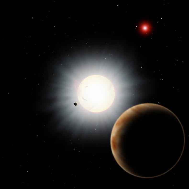 O proiecție artistică a sistemului HAT-P-7. Cercetătorii au utilizat Telescopul Subaru pentru a descoperi o planetă retrogradă aproape de steaua centrală, o altă planetă gigant și o stea companion - în acest sistem. (Credit: NAOJ)